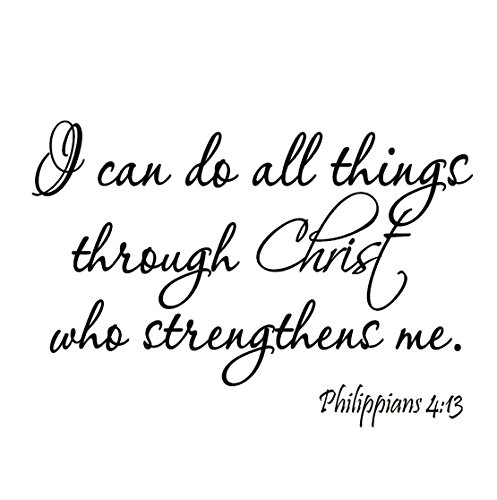 VWAQ I Can Do All Things Through Christ Who Strengthens Me Philippians 4:13 Wall Decal Bible Scripture Christian Wall Art Quote Lettering