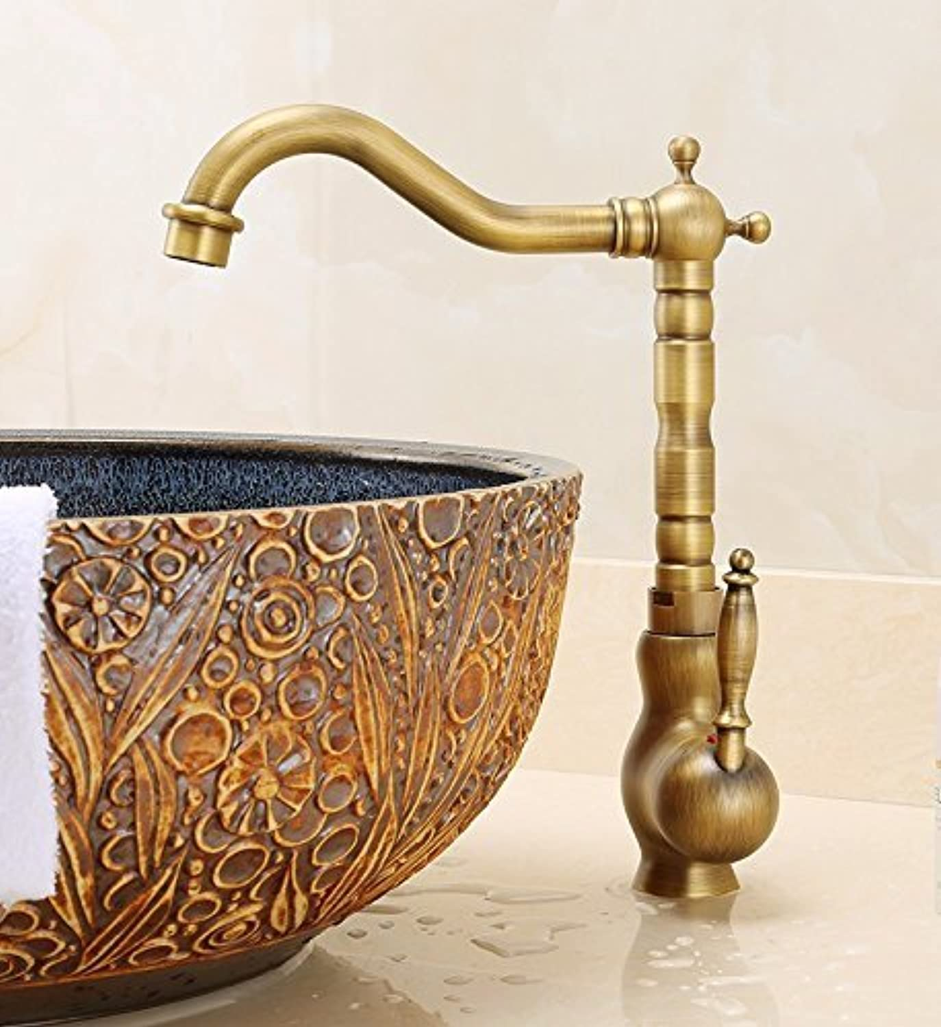 Ywqwdae Washroom Sink Mixer Tap copper European retro style Hot and cold redate Sit Wash basin Brushed Single hole