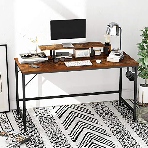 HOMEYFINE Escritorio de Computadora, Mesa de Computadora Portátil con Almacenamiento para Controlador, 55 Pulgadas, Madera y Metal, Mesa de Estudio para Oficina en Casa (Acabado de Roble Vintage)