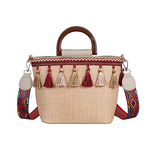 XIXIAO Stitching Contrast Color Beach Straw Woven Bag Ethnic Style Ribbon Fringed Beach Bag for Ladies Weekender Travel
