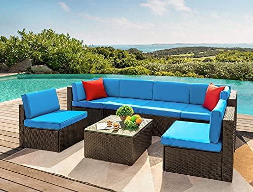 Devoko 7 Pieces Outdoor Sectional Sofa Patio Furniture Sets Manual Weaving Wicker Rattan Patio Conversation Sets with Cushion and Glass Table (Blue)