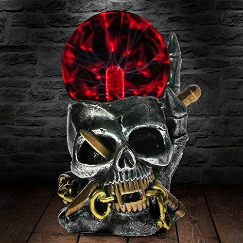 ABILY Lámpara de Mesa Viking Skull with Through Estatua Estatuilla Eléctrica Trueno...