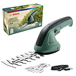 Tondeuse à gazon Bosch – EasyShear (batterie 3,6V intégrée, autonomie: 40min, longueur de lame: 12cm (arbustes)/ 8cm (herbe), boîte en carton)