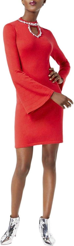 Inc Womens Embellished Bell Sleeve Sweaterdress