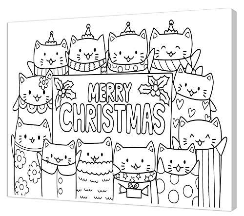 pintcolor 9091 châssis avec toile imprimée à colorier, Wood, blanc/noir, 40 x 30 x 3,5 cm