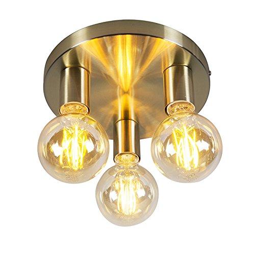 QAZQA Design/Modern Art Deco Deckenleuchte/Deckenlampe/Lampe/Leuchte Gold/Messing - Facil 3-flammig/Innenbeleuchtung/Wohnzimmerlampe/Schlafzimmer/Küche Stahl Zylinder/Rund LED geeign