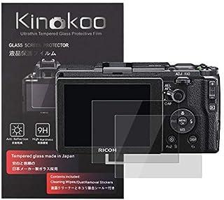 kinokoo 液晶保護フィルム リコー Ricoh デジタルカメラ Ricoh GR III専用 硬度9H 高透過率 耐指紋 気泡無し 強化ガラス 厚さ0.3mm 2枚セット 標識クロス付き(GR3専用)