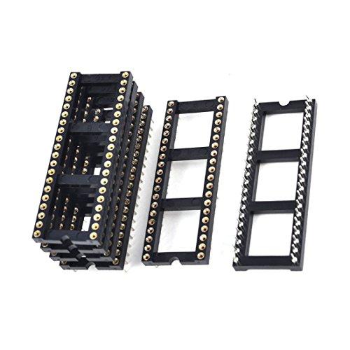 TOOGOO(R) 6 x 2.54 mm Rastermass 40 Runde Stifte zweireihig DIP IC Sockel Adapter Lot