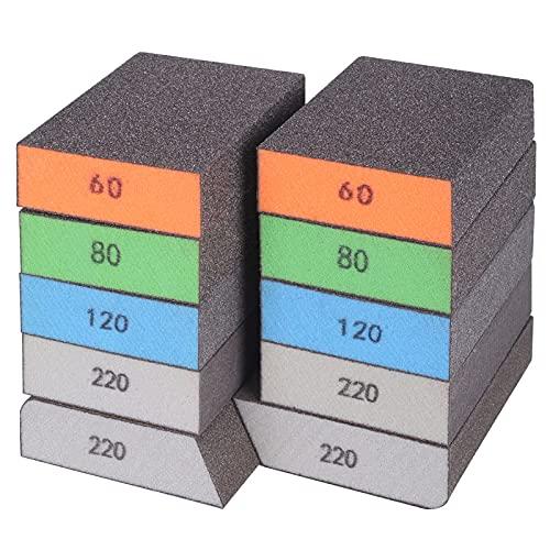 BOSHCRAFT 10 Pack Sanding Sponge, Washable and Reusable Sanding Block Coarse/Medium/Fine/Superfine in 60/80/120/220 Grit Assortment Sand Sponges for Wood Metal Glasses Drywall Hand Sanding