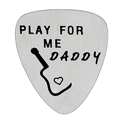 """Gitarren-Plektrum """"Play For Me Daddy"""", Geschenk für Vater von Tochter/Sohn, Edelstahl-Plektrum für Herren"""