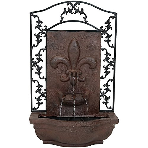 Sunnydaze French Lily Solar Powered Outdoor Wall Water Fountain with Battery Backup, Pump and Panel - Patio Waterfall Feature - Weathered Iron - 33-Inch