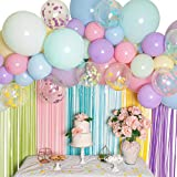 Pastel Balloon Garland Kit - Macaron Balloon Arch Kit for Parties - Small and Large Balloons, Gold Confetti,...
