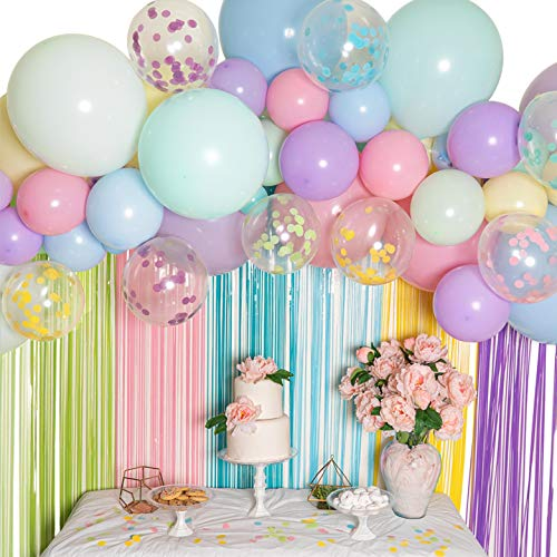 Pastel Balloon Garland Kit - Macaron Balloon Arch Kit for Parties - Small and Large Balloons, Gold Confetti, Mint, Pink Balloons, Balloon Pump, Balloon Tape etc - Latex Balloon Column