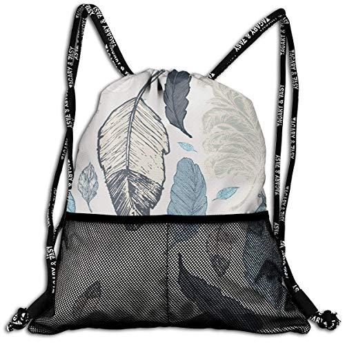 DPASIi Bolsa de cordón con diseño de plumas dibujadas en varios colores, bolsa de viaje, bolsa de viaje de poliéster, bolsa de zapatos, cierre de cuerda ajustable