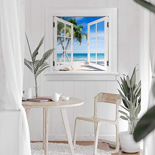 Palm beach wall stickers 3D wallpapers sea poster self adhesive window stickers ocean view 100x96 cm