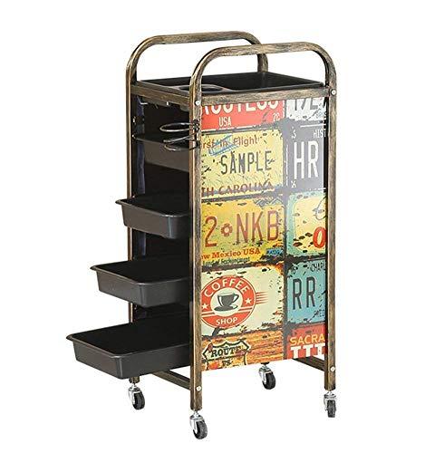 2018 5-dieren Retro kapperswagen Salon Barbier wagen dienblad opslag wagen haar trolley met 4 laden haardroger houder