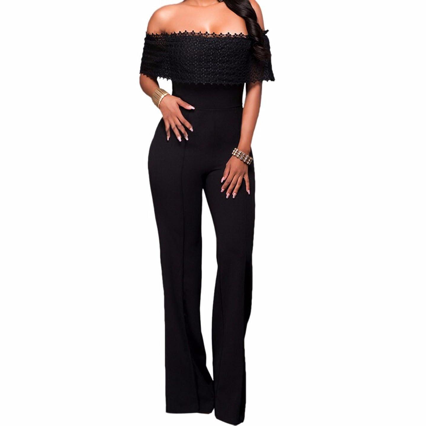 Women Strapless Jumpsuits Side Zip Long Wide Leg Pants Bodysuit Romper Cocktail Black