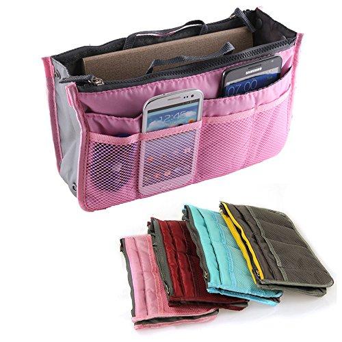 Yihya Donne Travel Organizer Bag Viaggiare Organizzatore Sacchetto Borsa Pouch con Doppia Zip Fodera Inserire Tasche Multiple Tidy Cosmetici Pouch Borsa --- ( Rosa )