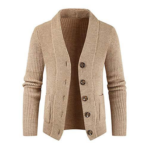 Chaqueta Tipo cárdigan con Cuello Vuelto y Botones para Hombre, Color sólido, Dos Bolsillos, Manga Larga, suéter cálido, Tops X-Large