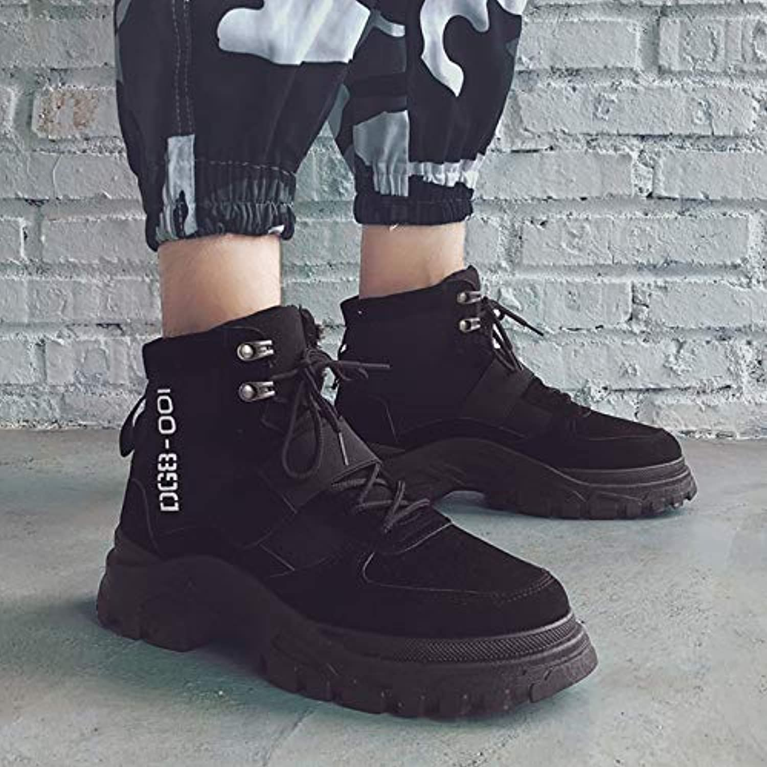 LOVDRAM Boots Men's Martin Boots Men'S Boots High To Help Snow Men'S shoes Winter Cotton Boots Boots Boots Desert Boots Military Boots Wild