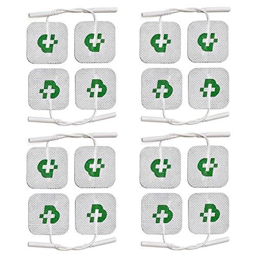 16 elettrodi di qualità superiore mm. 40x40, universali, adatti a tutte le marche di elettrostimolatori con cavetti a spinotto da 2 mm, lavabili, non necessitano di gel