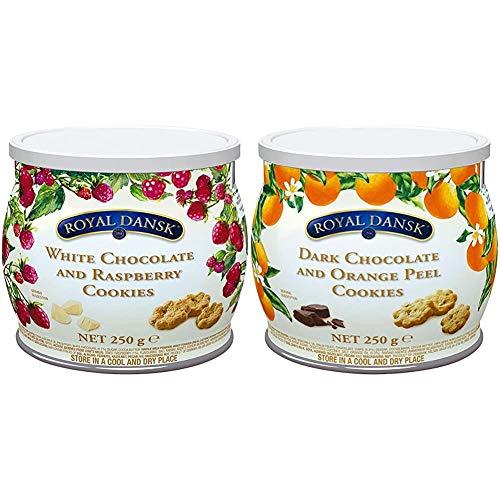 【セット買い】ロイヤルダンスク ホワイトチョコ&ラズベリークッキー 250g & ダークチョコ&オレンジピールクッキー 250g