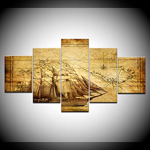 TIANJJss 5 canvas prints schilderijen modulaire kunst canvas 5 panelen oude nautische kaarten van navigatie Home Decor muurschildering voor woonkamer poster