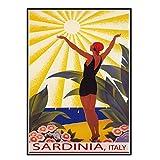 GUICAI Cerdeña Italia Sunshine Beach Girl Saludando Sun Sail Travel Vintage Poster Picture Telón de Fondo Decoración de la Pared Decoración de la Sala de Estar del hogar -50X70 cm Sin Marco 1 Pcs