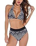 Tuopuda - Bañador para mujer brasileño, push up brasileño, bikini con estampado de onda, con braga ajustable, 2 piezas Negro XL