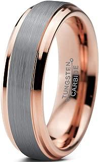 Tungsten Wedding Band Ring 6mm Men Women Comfort Fit 18k Yellow Rose Gold Black Grey Step Edge Brushed Polished