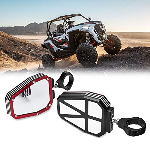 UTV Mirrors Side View for Polaris RZR 1000 900, kemimoto Break Away with Ball Joint High Impact Shatter Proof Tempered Glass Red Heavy Duty Aluminium Alloy Mirror