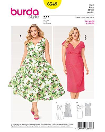 Burda 6549 Schnittmuster Kleid (Damen, Gr. 46-56) Level 3 mittel