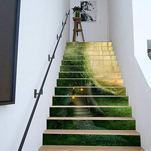 SQINAA Pegatinas 3D para escaleras, Autoadhesivas, extraíbles, Impermeables, para baldosas de escaleras, Pegatinas para Sala de Estar, Cocina, Dormitorio, decoración del hogar (39,3x7,08 Pulgadas),H