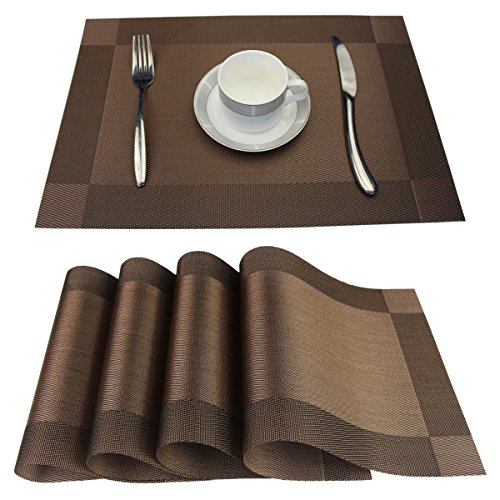 SINTELINE Placemats Set of 6 Stain Resistant PVC Placemat for Dining Table Woven Vinyl Heat-resistantS Table Mats Easy to Clean (Brown, 6 )