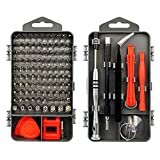 110 in 1 Precise Screwdriver Set with Slotted, Phillips, Torx& More Bits, Non-Slip Magnetic Electronics Tool Kit for Cell Phone Watch Laptop PC Magnetic Repair Kit Black