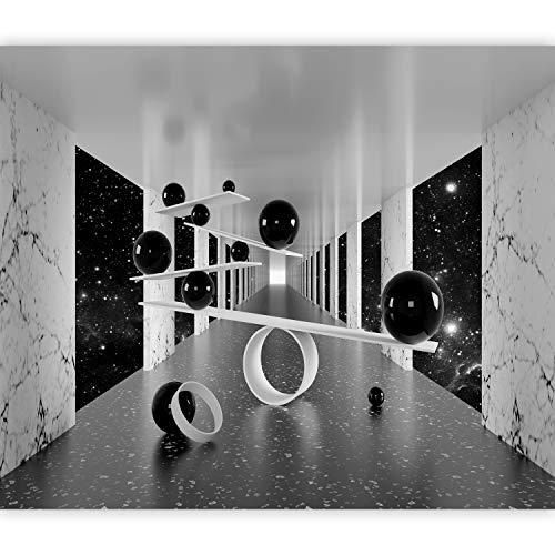 murando Fototapete 3D Effekt 350x256 cm Vlies Tapeten Wandtapete XXL Moderne Wanddeko Design Wand Dekoration Wohnzimmer Schlafzimmer Büro Flur Abstrakt schwarz weiß Marmor n-A-1032-a-a