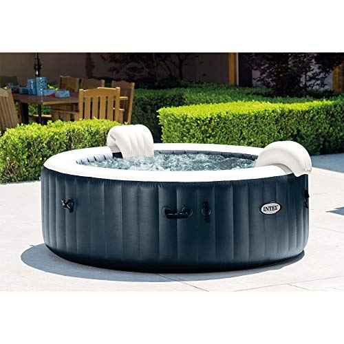 Intex 85In x 25In PureSpa Plus Round 6 Person Portable Inflatable Hot Tub Spa with Bubble Jets and Built in Heater Pump