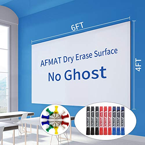6'x4' Whiteboard Paper, White Board Adhesive Wallpaper, Large Dry Erase Wall Sticker, Dry Erase Paper Roll for Table/Doors, 9 Markers, Super Sticky, No Ghost