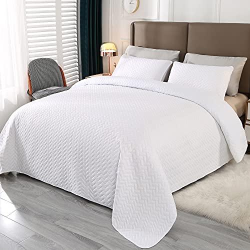 Qucover Tagesdecke 170x210cm Bettüberwurf 3 Teilige Bettwäsche Gesteppte Steppdecke Weiß Weiche Bettbezug mit 2 Kissenbezug Geeignet für Doppelbett Couch Überwurf Decke