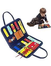 Gobesty Busy Board Montessori - Jouet Montessori Basic Skills Activity Board - Jouet éducatif précoce pour l'apprentissage de la vie primaire, les compétences de vêtements