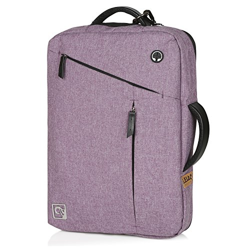 EleSac 15' Laptop Backpack, Water Resistant Canvas Convertible Briefcase Messenger Backpack