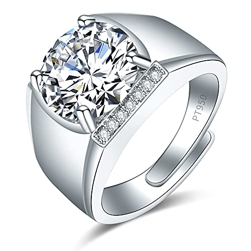 Shiny Full Diamond Ring 5Carat Round Cut Cubic Zirconia Promise Ring Wedding Ring for Men Silver Ring CZ Cocktail Ring Eternity 950 Platinum Simulate Moissanite Ring Adjustable Ring 065