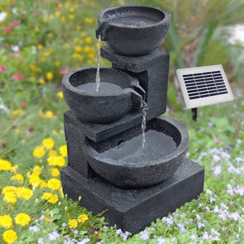 """FUENTE SOLAR EXTERIOR - FUENTE DECORATIVA - FUENTE DE AGUA SOLAR - FUENTE EN CASCADA - FUENTE SOLAR DECORATIVA """"Tazón-granito-en cascada"""" -Relajante y Hermosa Fuente Decorativa para el jardin -con batería Li-Ion & luz LED"""
