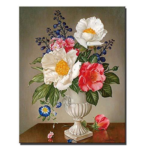 Rincr Grote witte vaas bloemen canvas schilderij aan de muur decoratie klassieke bloemen vintage poster en prints afbeelding voor de woonkamer