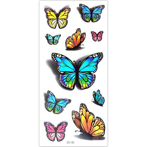 EROSPA® Tattoo-Bogen temporär - 3D Schmetterlinge / Butterfly - 10 x 6 cm