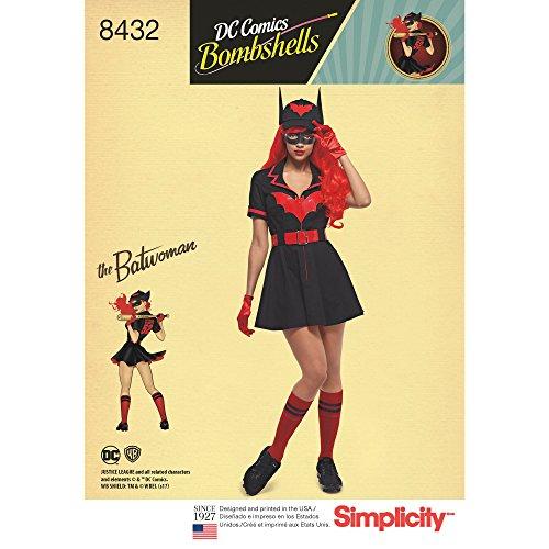 Simplicity patroon 8432 H5 (6-8-10-12-14) vrouwen 'S DC Bombe Batwoman kostuum, papier, wit, 22,23 x hemelsblauw x 1,23 cm