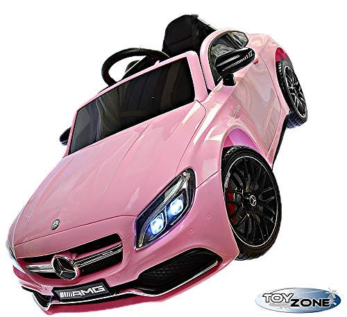 Toy Zone Kinderfahrzeug C 63 AMG Mercedes 12V Kinder Elektro Kinderauto MP3 USB Ledersitz Eva Gummiräder 2,4 GHZ pink