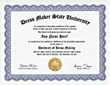 Dress Making Dressmaker Degree: Custom Gag Diploma Dress Maker Doctorate Certificate (Funny Customized Joke Gift - Novelty Item)