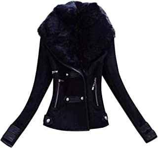 Funnygals - Faux Suede Short Jacket, Moto Jacket Zip up Slim Fit Coat with Large Faux Fur Collar and Zip Pockets Size