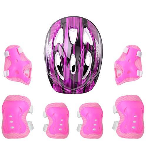 iEFiEL 7 Stück Kinder Mädchen Protektoren Set Profie Schutzausrüstung mit Verstellbar Helm Knieschoner Ellbogenschützer Handgelenkschoner für Fahrrad Rollschuh Rose Rot One Size